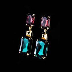 Bjorn van den Berg Aphrodite Earrings XL Gold Amethyst Emeraldgreen