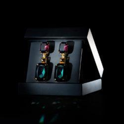 Bjorn van den Berg Aphrodite Earrings XL Gold Amethyst Emeraldgreen Inbox