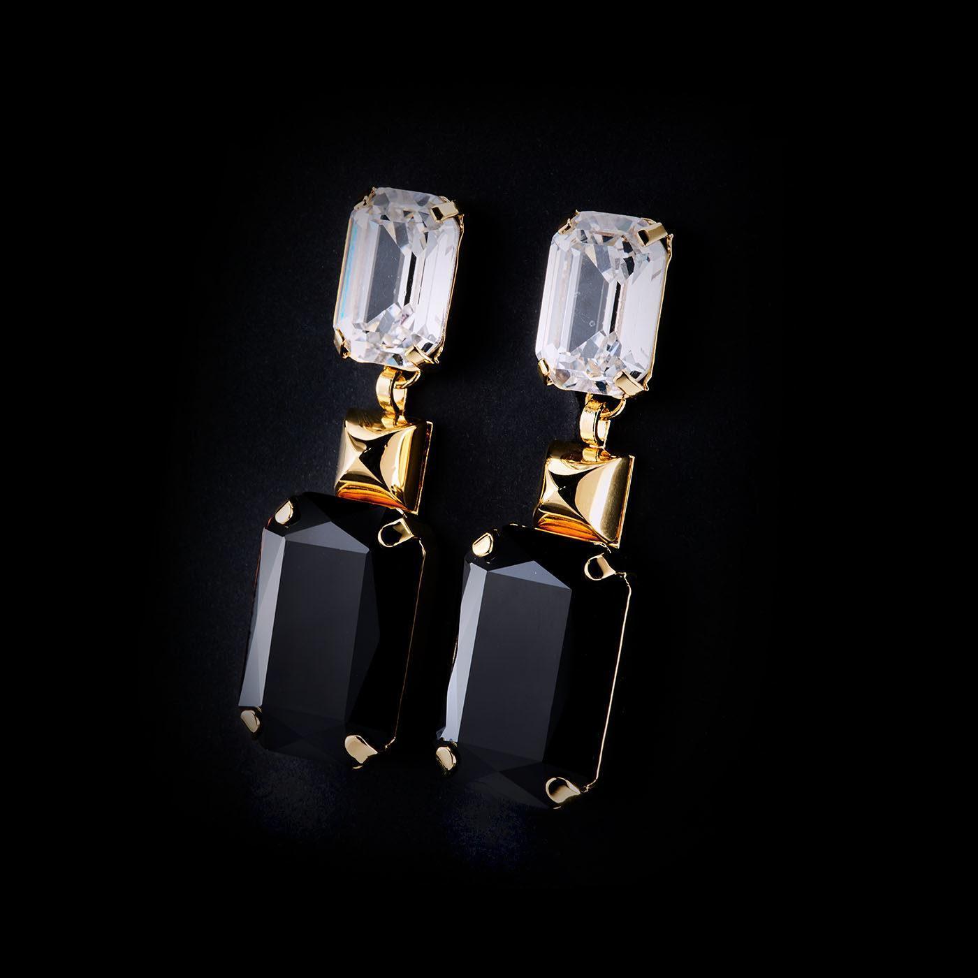 Bjorn van den Berg Maturity Earrings XL Gold Clear Black