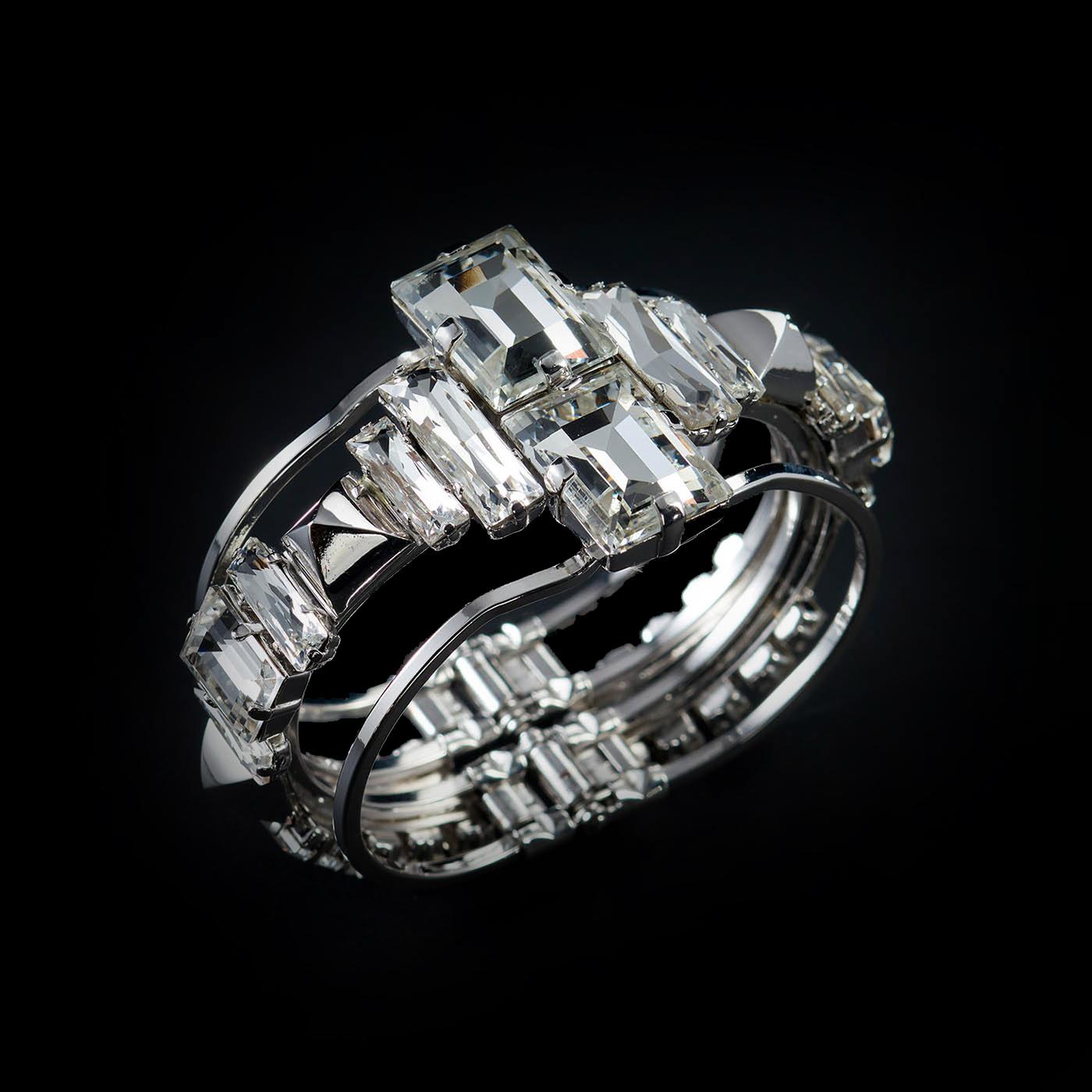Bjorn van den Berg Decadence Bracelet Side Platinum Clear Pyramid