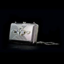 Bjorn van den Berg Decadence Clutch Limited Edition Side Detail Silvertone Monochrome Clear