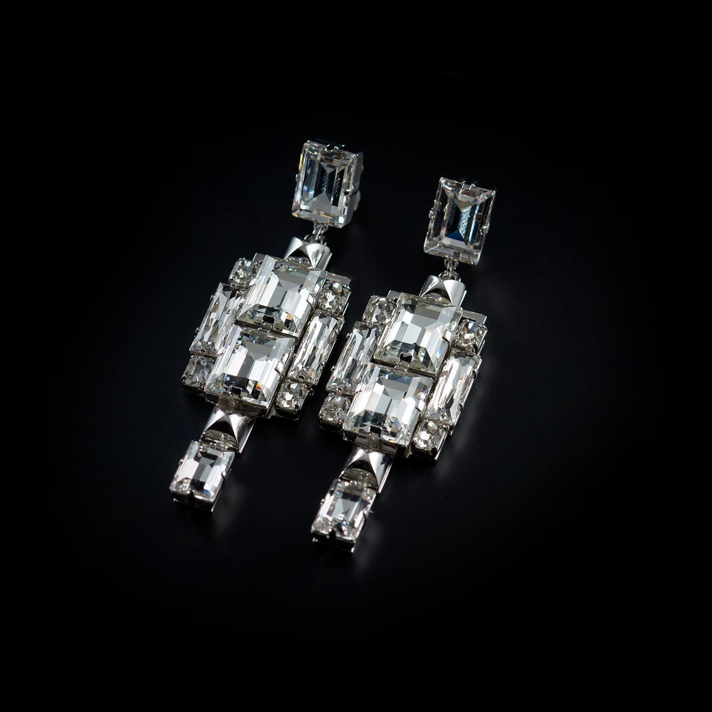Bjorn van den Berg Decadence Earrings Large Front Limited Edition Platinum Clear